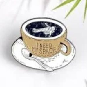 I Need My Space Astronaut Coffee Cup Enamel Pin